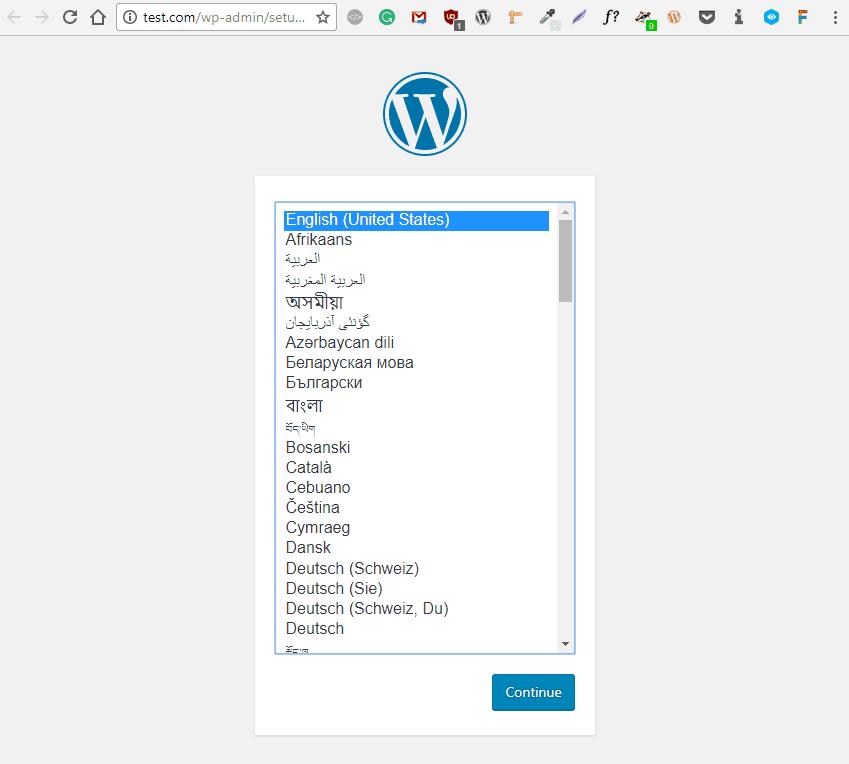 laracon start of wordpress install