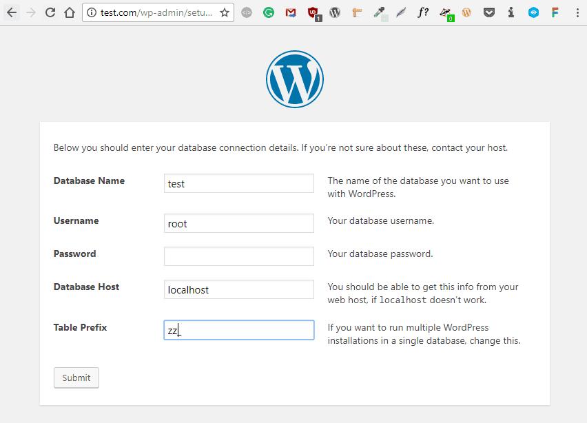 laracon entering wordpress database info