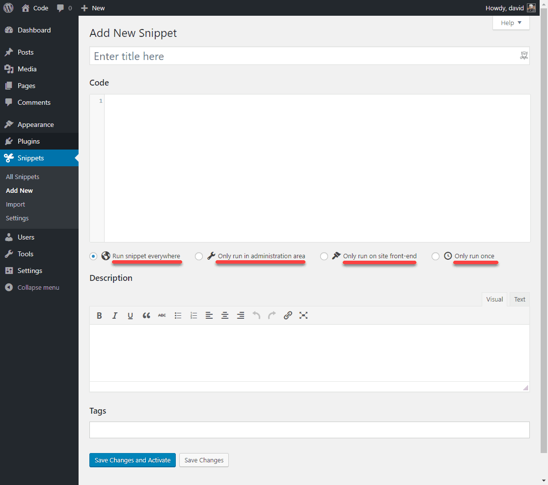code snippets user interface