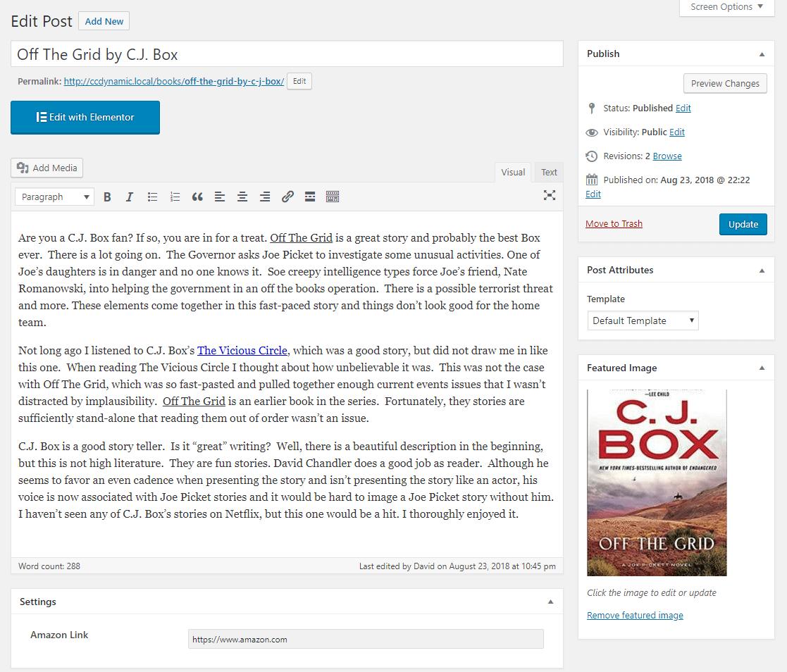 book edit screen