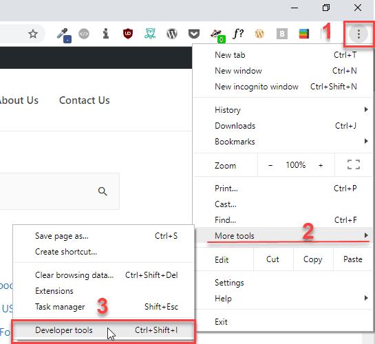 open dev tools via hot dog menu