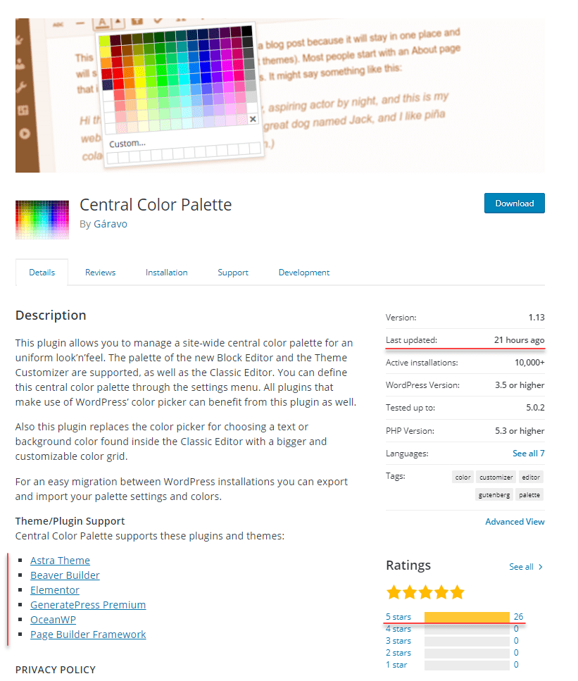 central color palette - wordpress directory