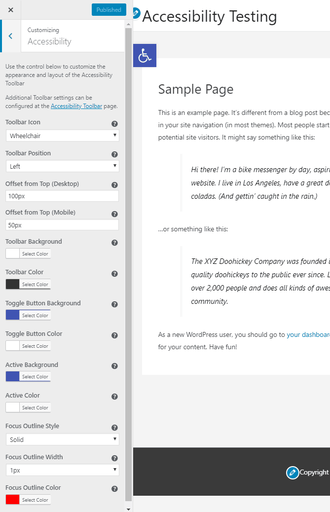 one click accessibility customizer options