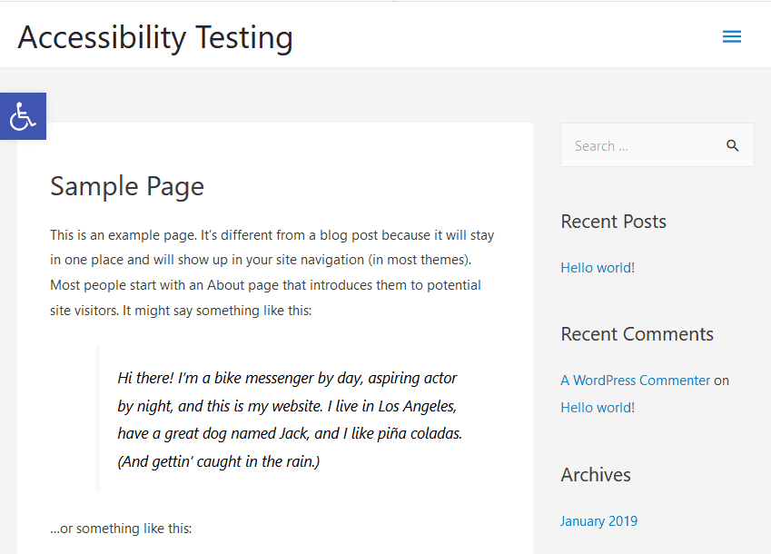one click accessibility front button