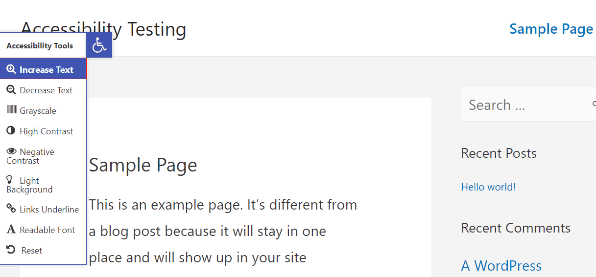 one click accessibility larger text