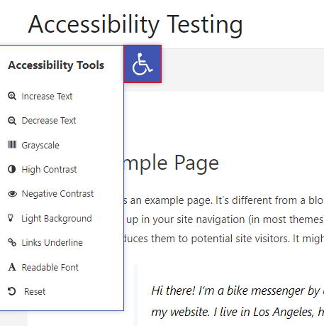 one click accessibility slide out menu