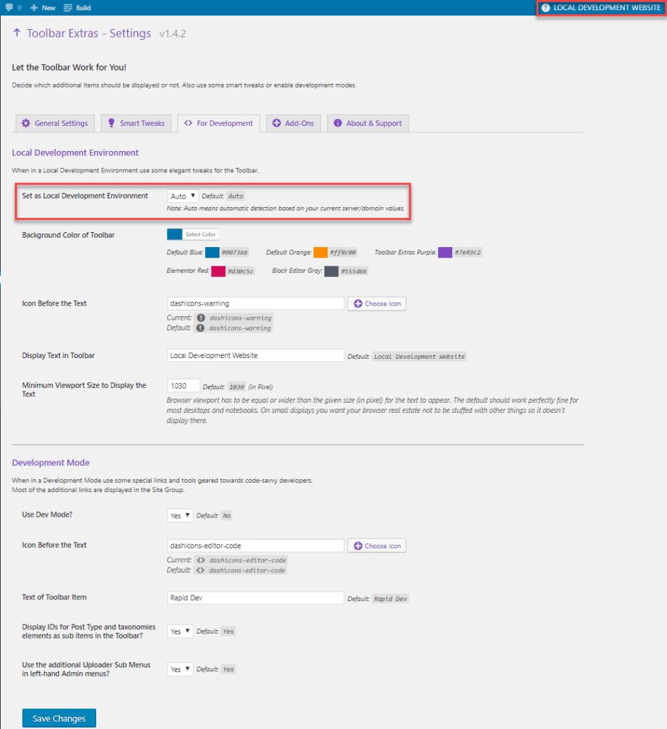 toolbar extras for developers menu