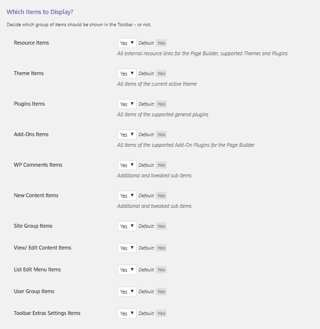 toolbar extras general settings areas