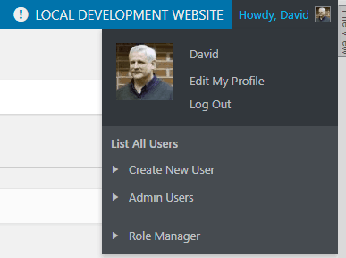toolbar extras user and profile links