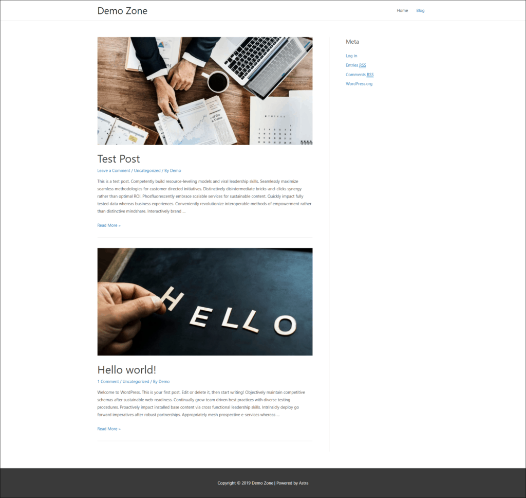 Demo blog page