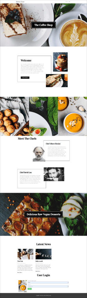 Demo home page with pre-designed content