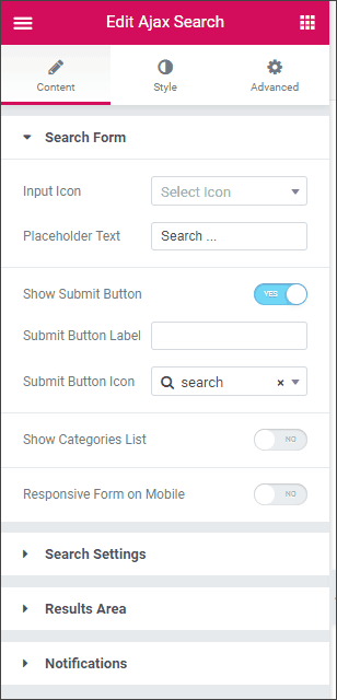jetsearch options