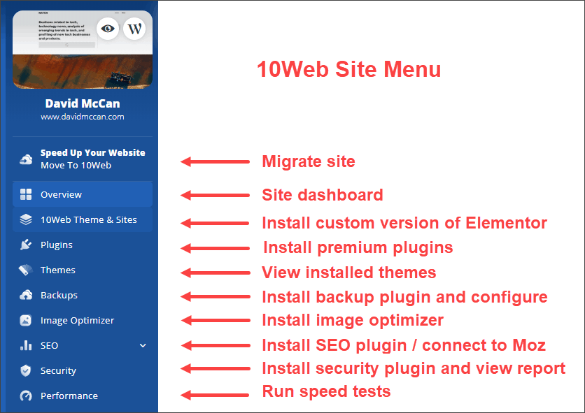 10Web menu