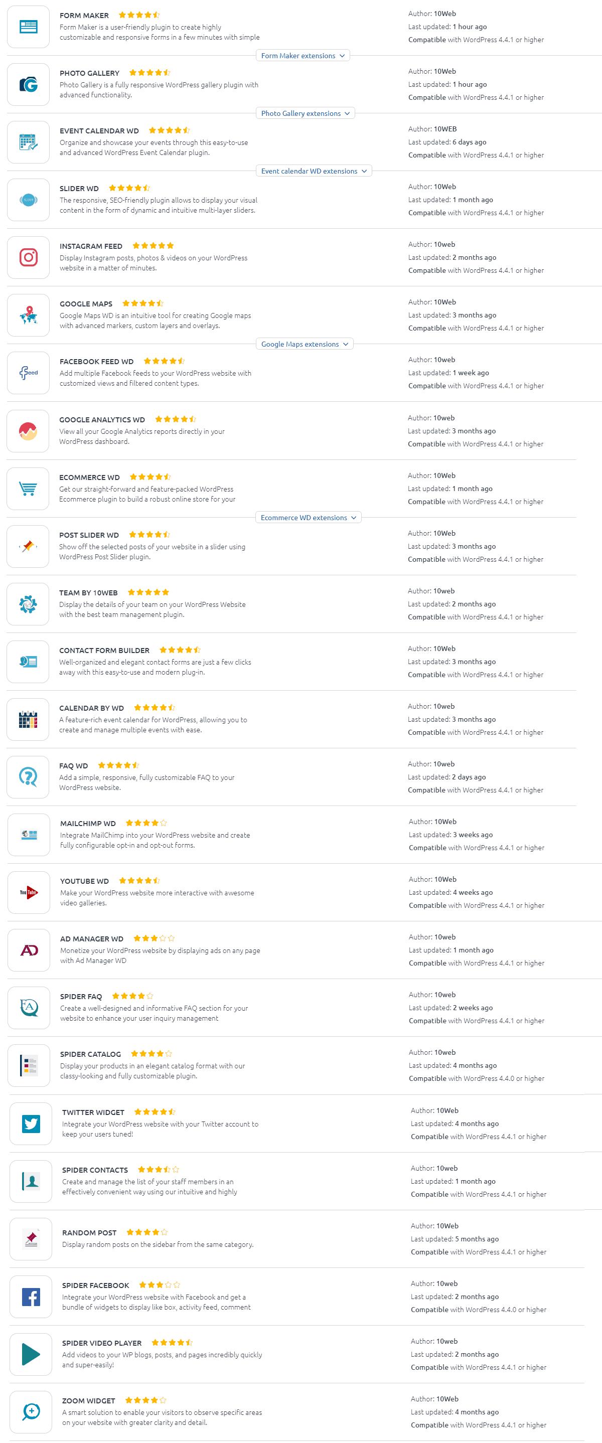 10Web premium plugin list