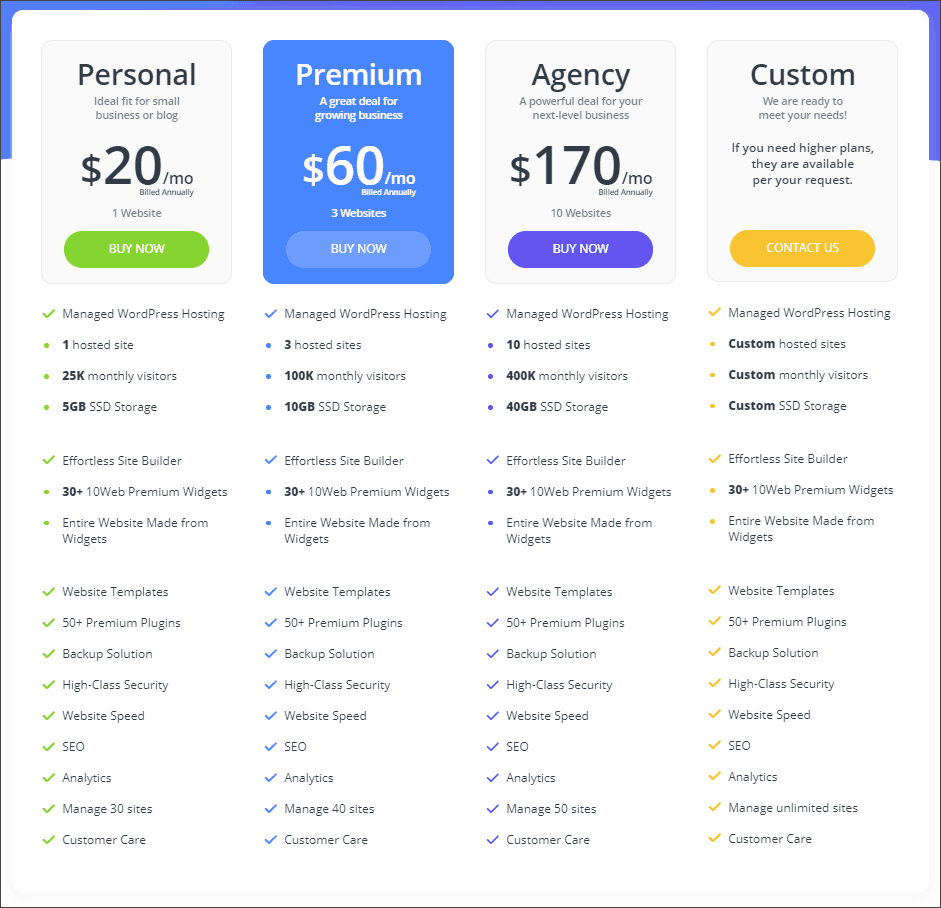 10Web pricing table