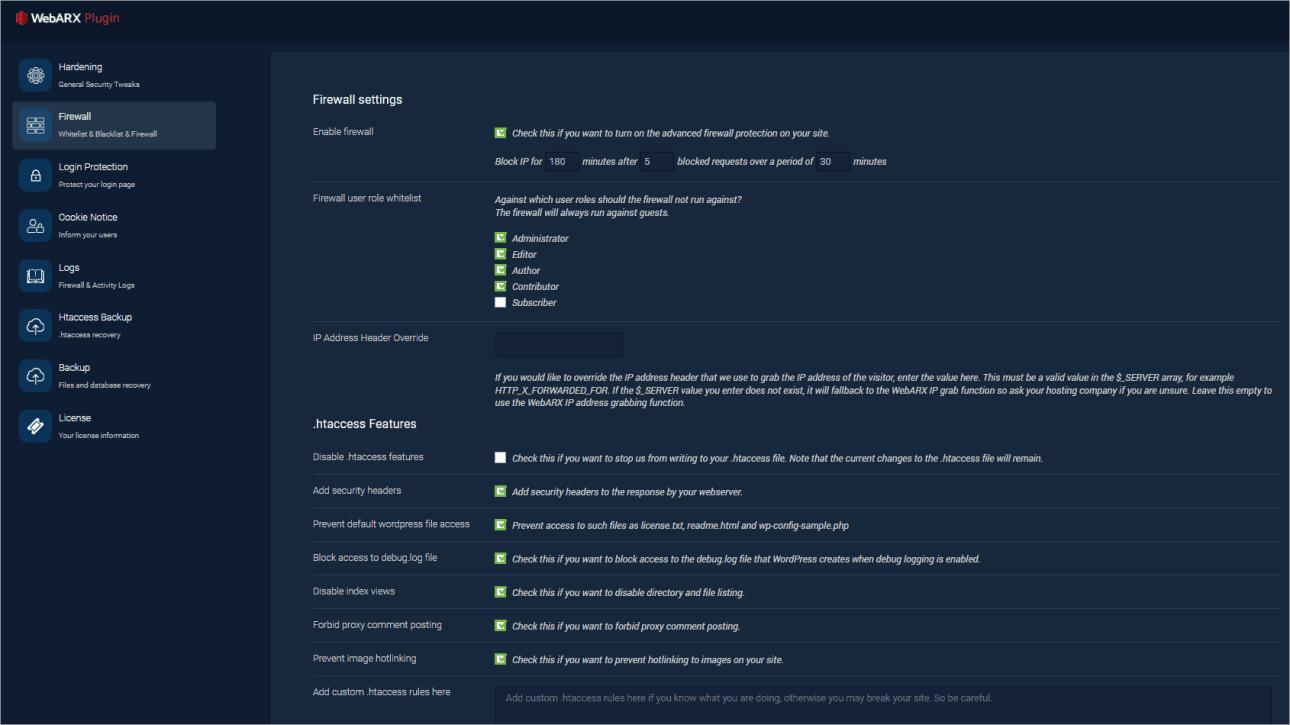 webarx plugin firewall settings
