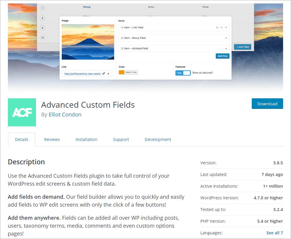 Advanced Custom Fields - free version on WordPress.org