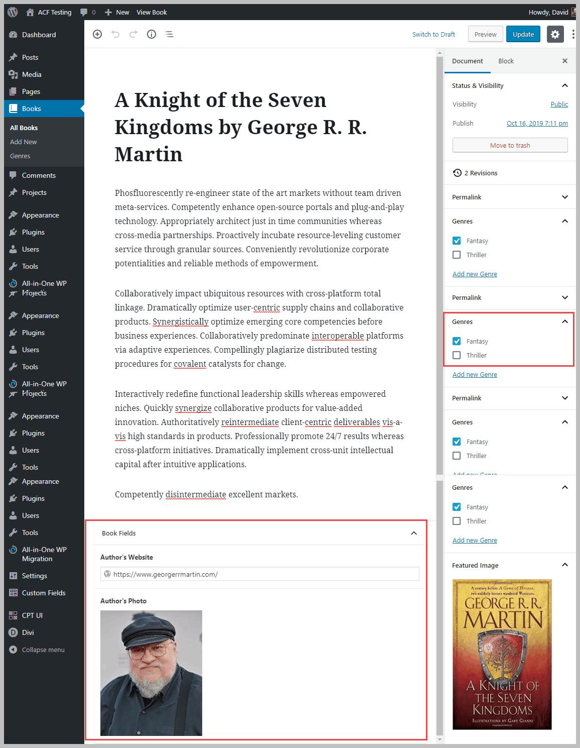 book record in the editor