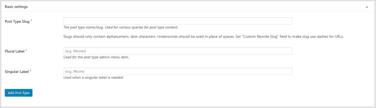 CPT UI Basic Settings