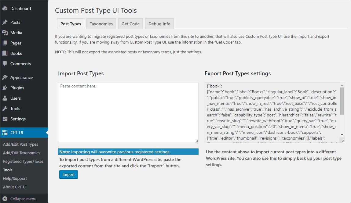 CPT UI Tools - Post Types tab