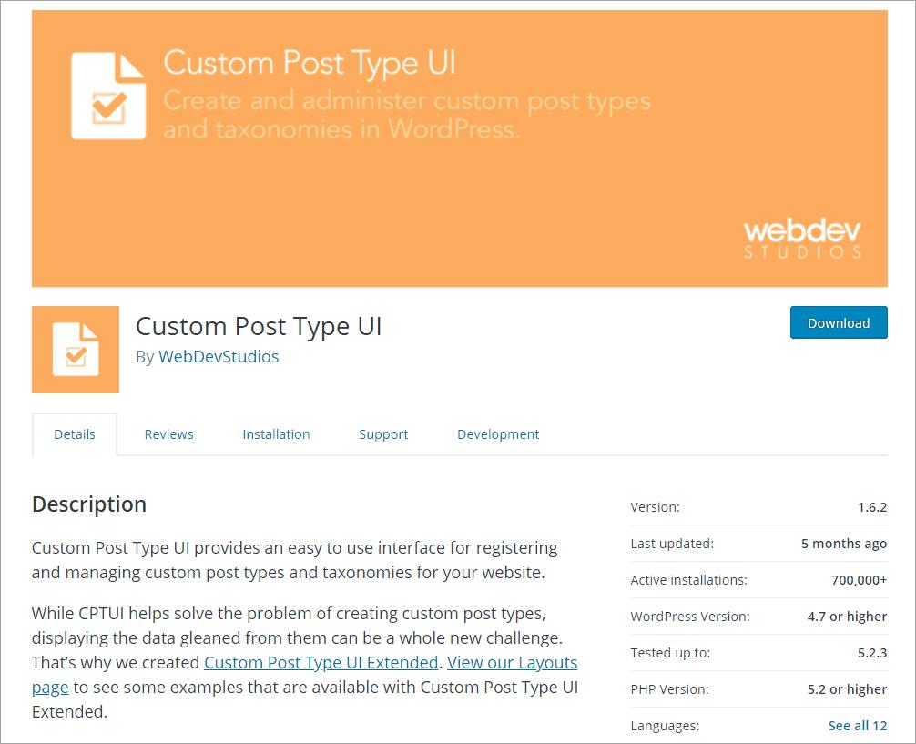 CPT UI on WordPress.org