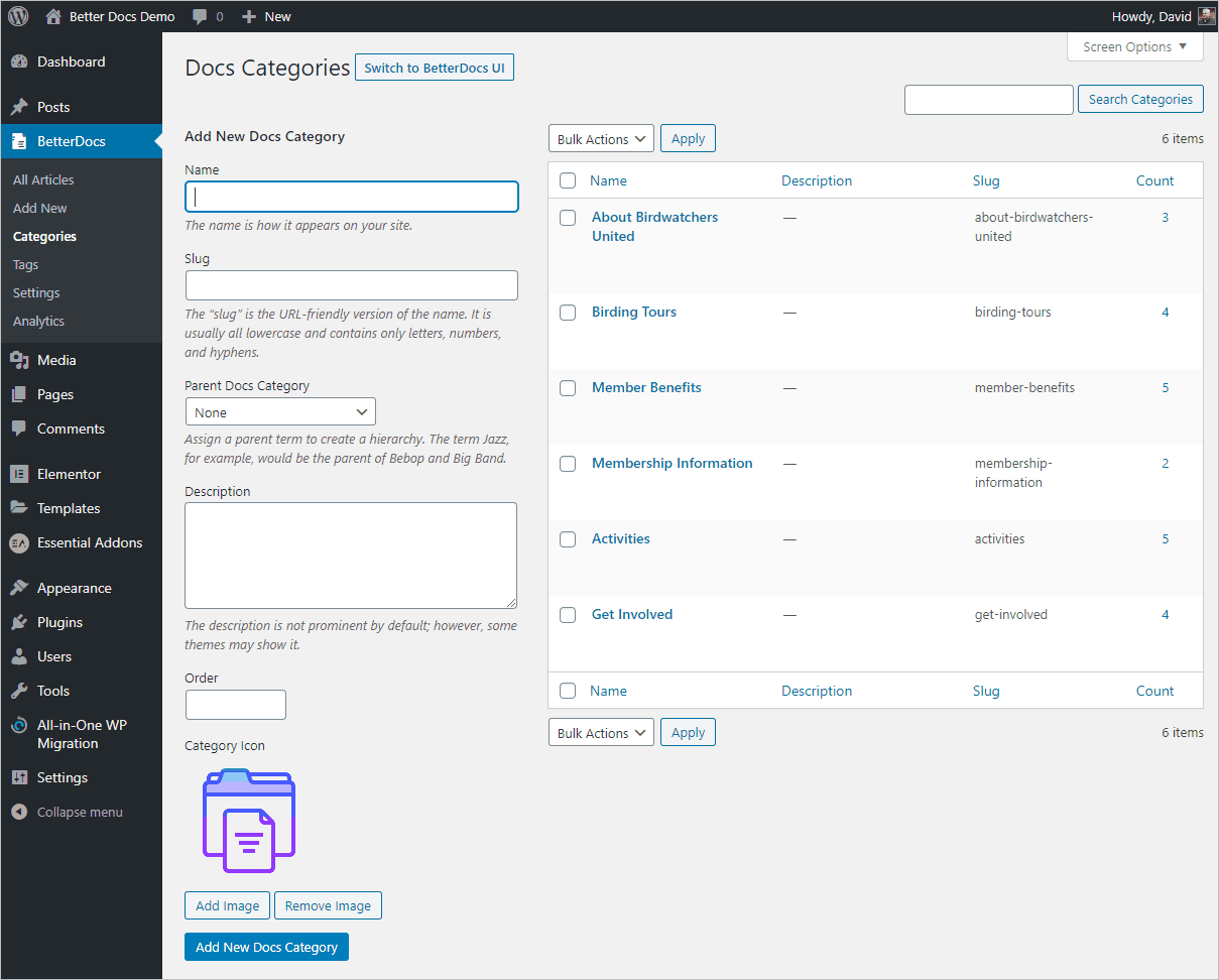 betterdocs category area in the wp admin