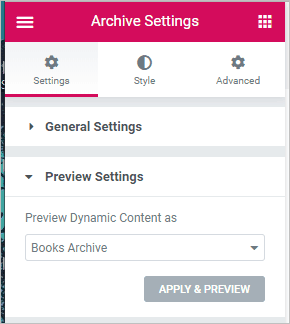 preview settings for book archive