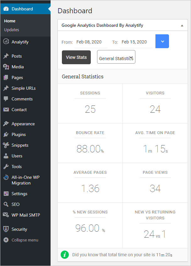 Analytify Dashboard Widget