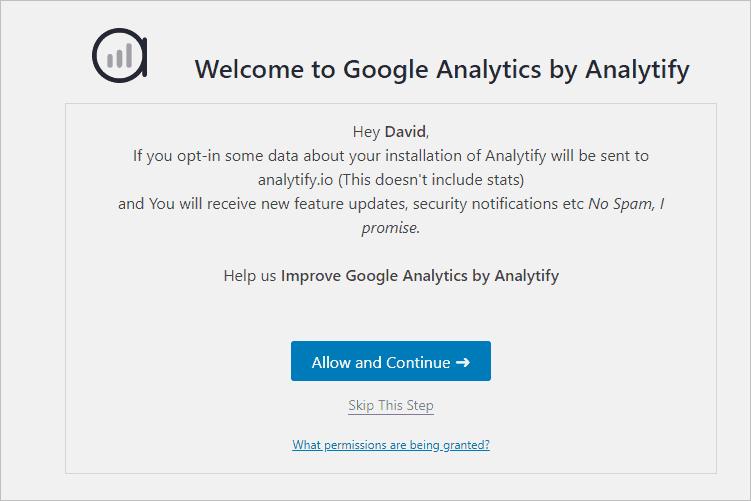 Analytify Start Of Setup Wizard