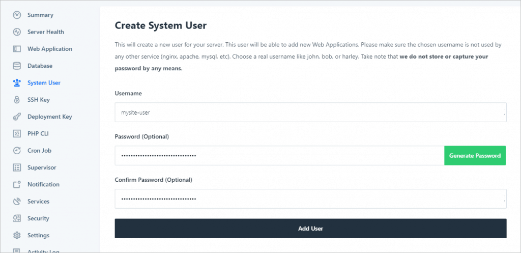 Runcloud Create User Form