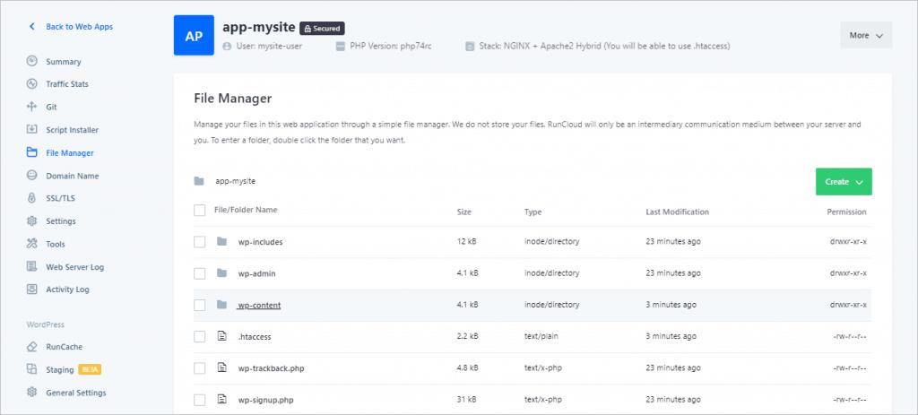 Runcloud File Manager