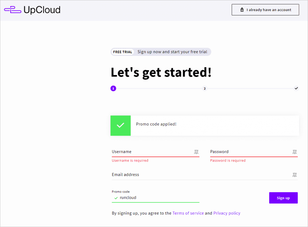 Upcloud First Signup Page