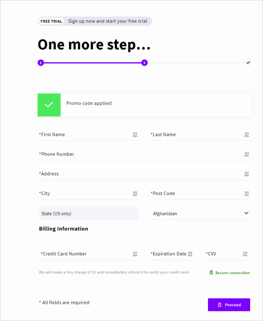 Upcloud Second Signup Page