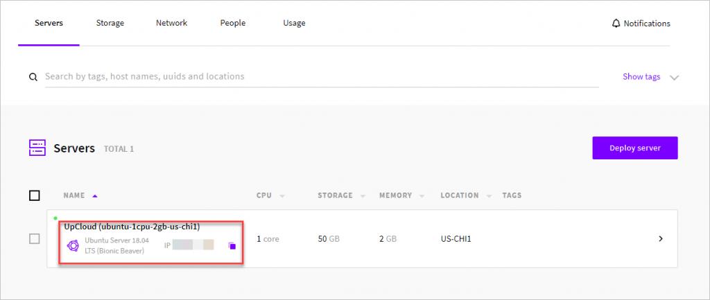 Upcloud Server Created