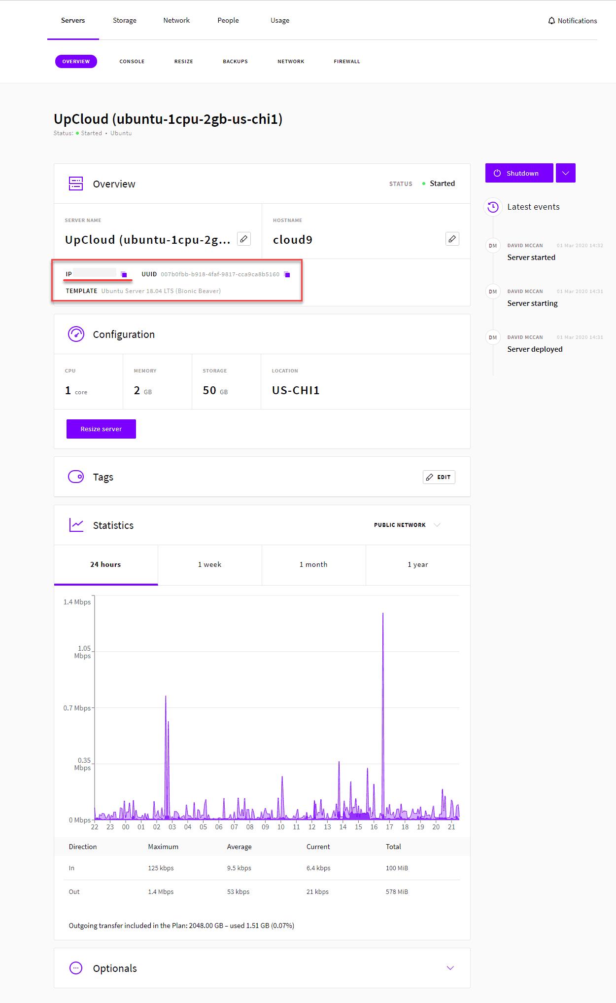 Upcloud Server Details