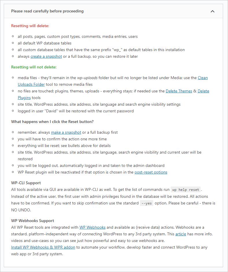 Wp Reset Instructions