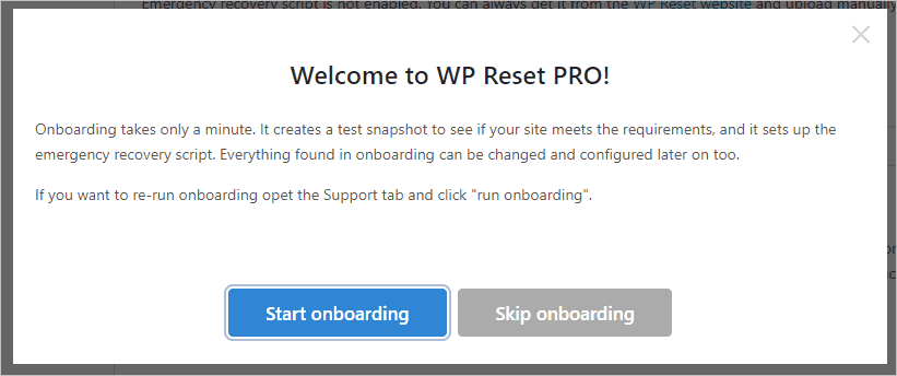 Wp Reset On-boarding Wizard