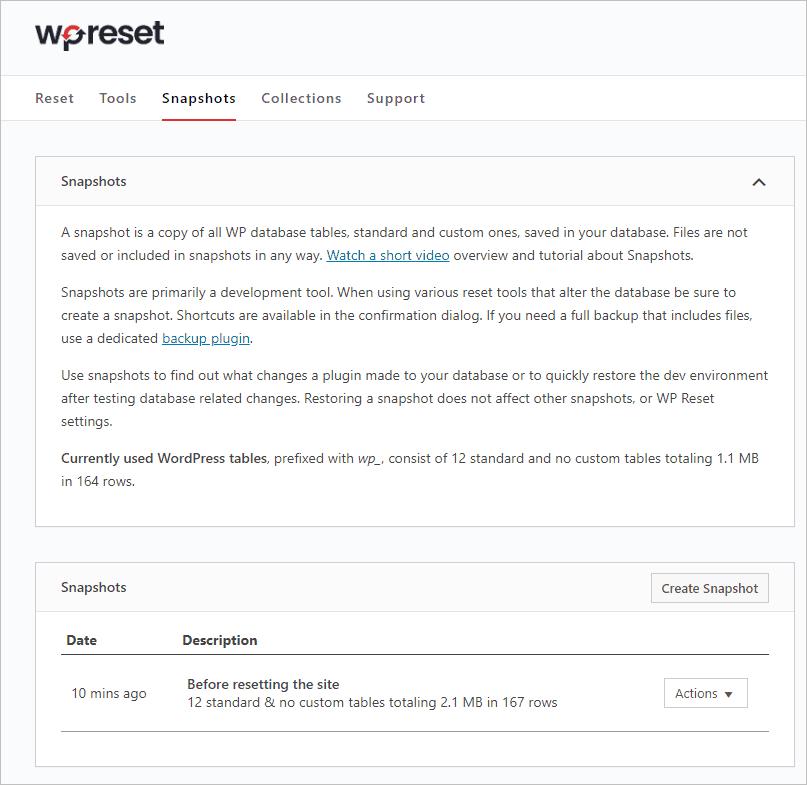 Wp Reset Snapshots Tab