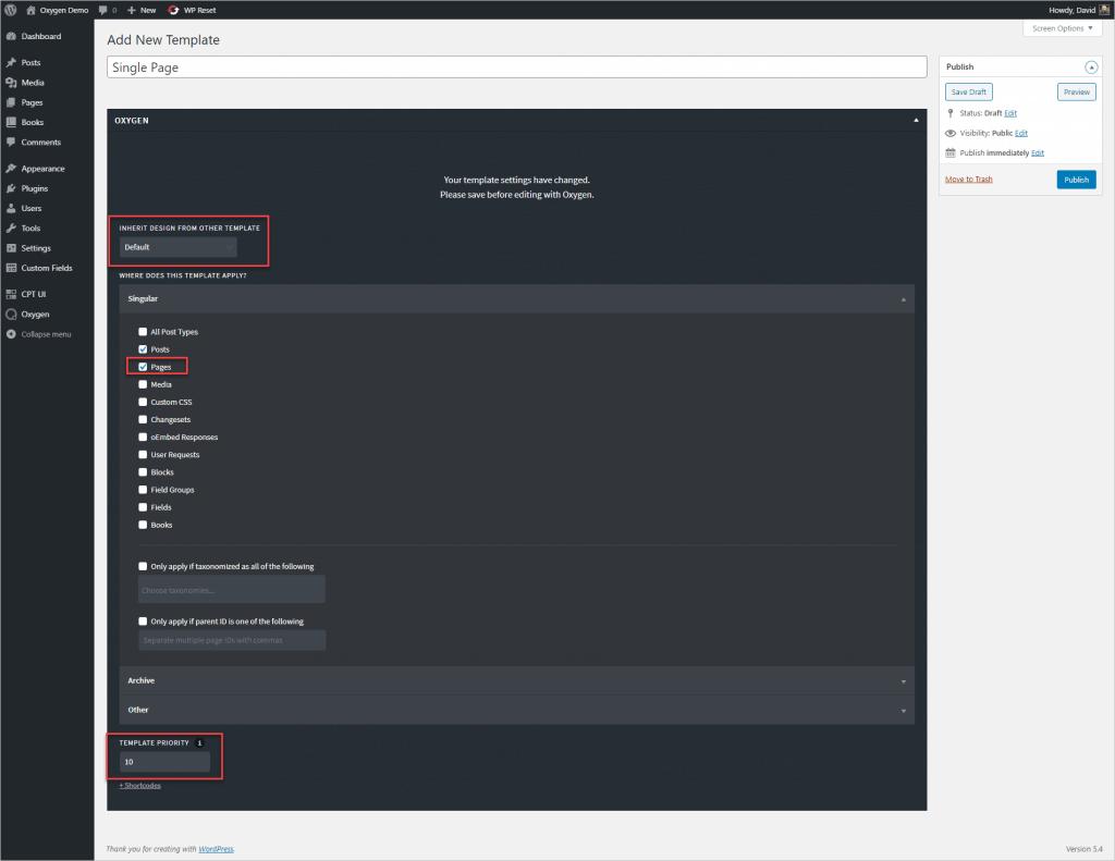 Oxygen Add Single Page Template