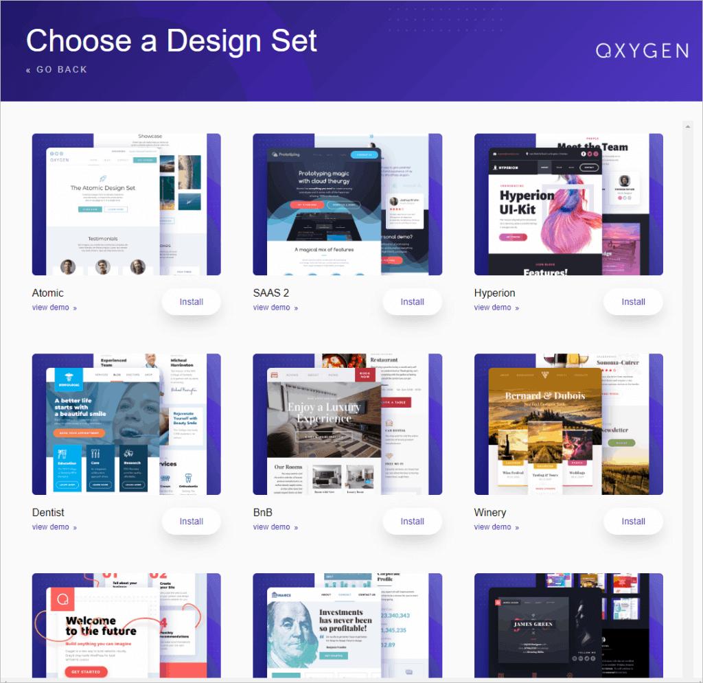 Oxygen Pre Designed Websites