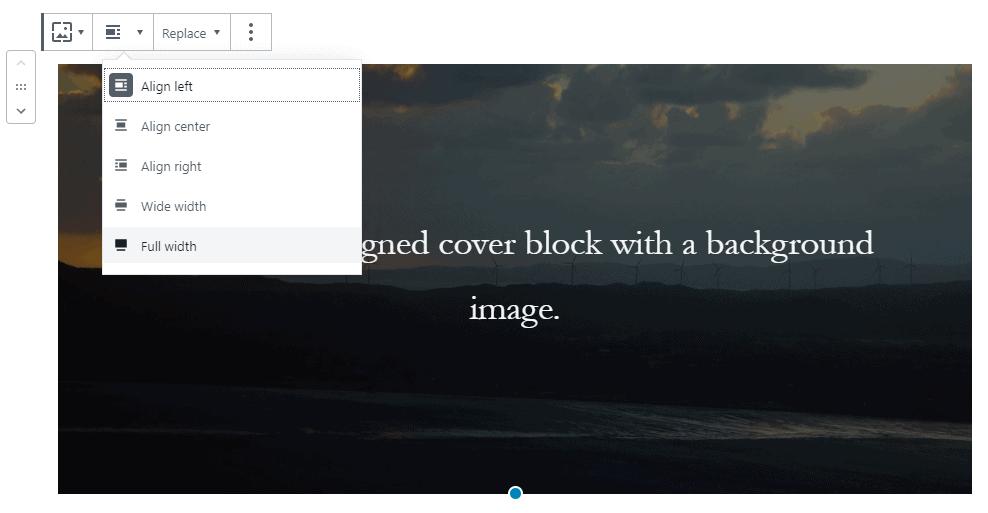 Gutenberg Cover Block Alignment Settings