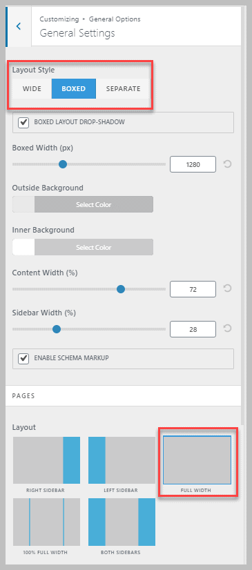 Oceanwp Customizer Layout Styles
