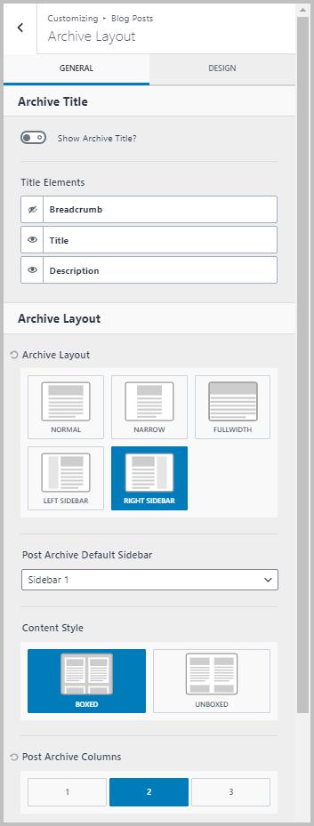 Blog Settings First Screen
