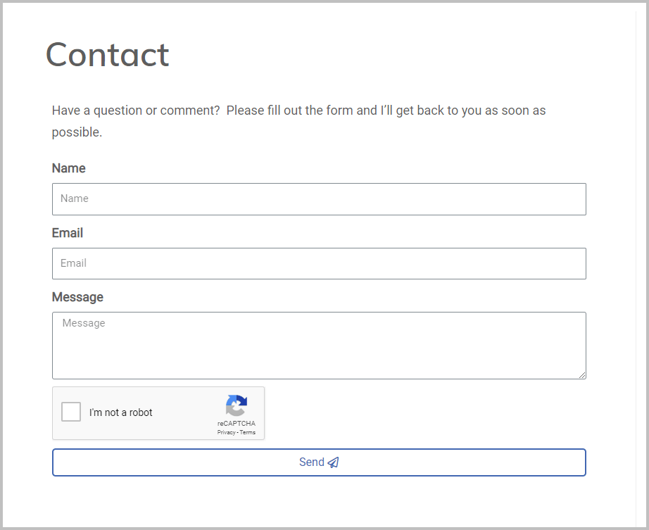 Contact Form Created With Elementor