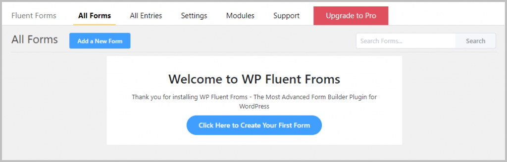 Fluent Forms Create New Form