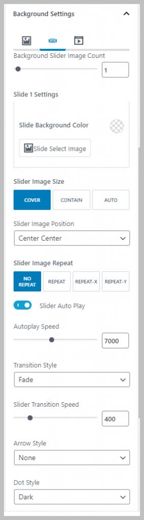 Background Slider Options