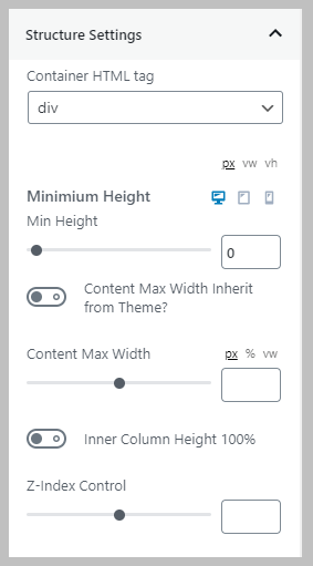 Row Structure Settings