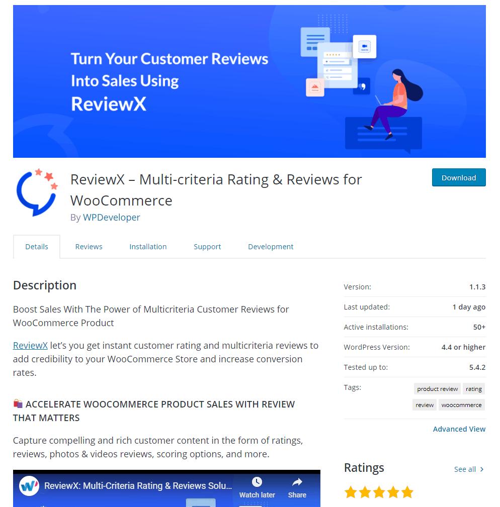 Reviewx On WordPress Org