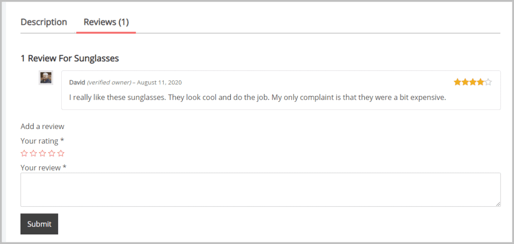 Woocommerce Default Review Display 1