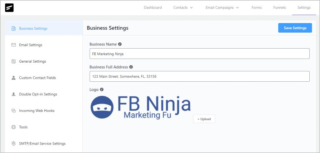 Fluentcrm Settings Business